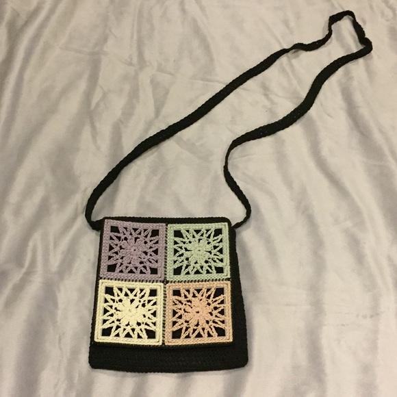 Handbags - Pastel and Black Crochet Crossbody